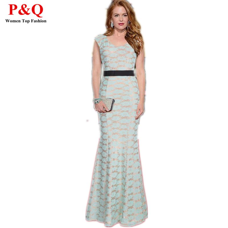 2015 Wedding Long Dress Party Women Trumpet Floor Length Lace Print Dresses Maxi Floral Woman Casual Dress Plus Size Vestidos(China (Mainland))