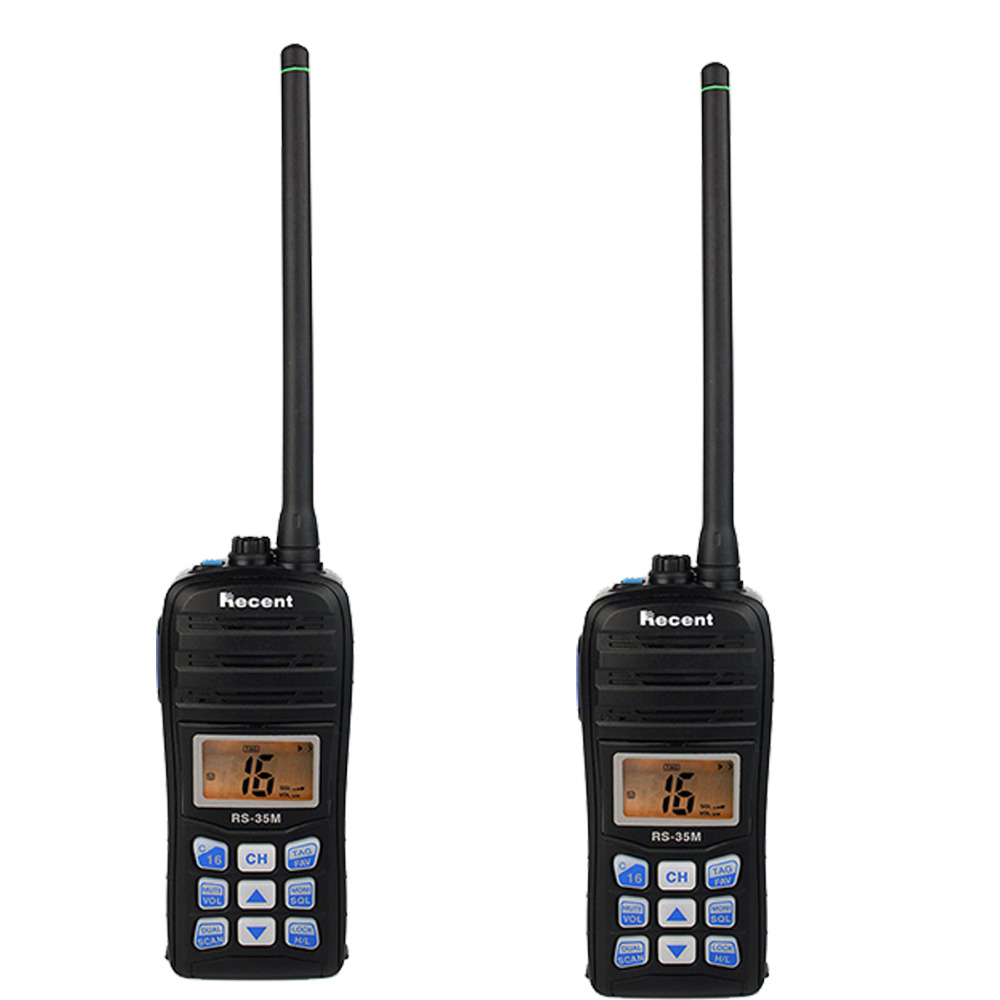 2 pcs Recent RS-35M Walkie Talkie 70CH VHF LCD Float Scan Waterproof IP67 Marine Handheld Transceiver Portable Ham Radio A7206A(China (Mainland))