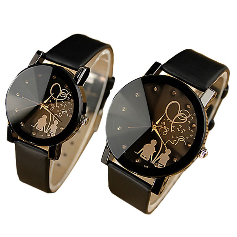 2015 1Pair New PU Leather Belt Watches Student Casual Fashion Couples Watches Men Women Wristwatches Top