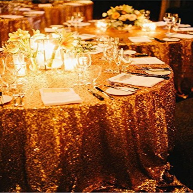 156'' Round Gold Sequin Tablecloth,wholesale Wedding Beautiful Sequin Table Cloth / Overlay /Cover(China (Mainland))