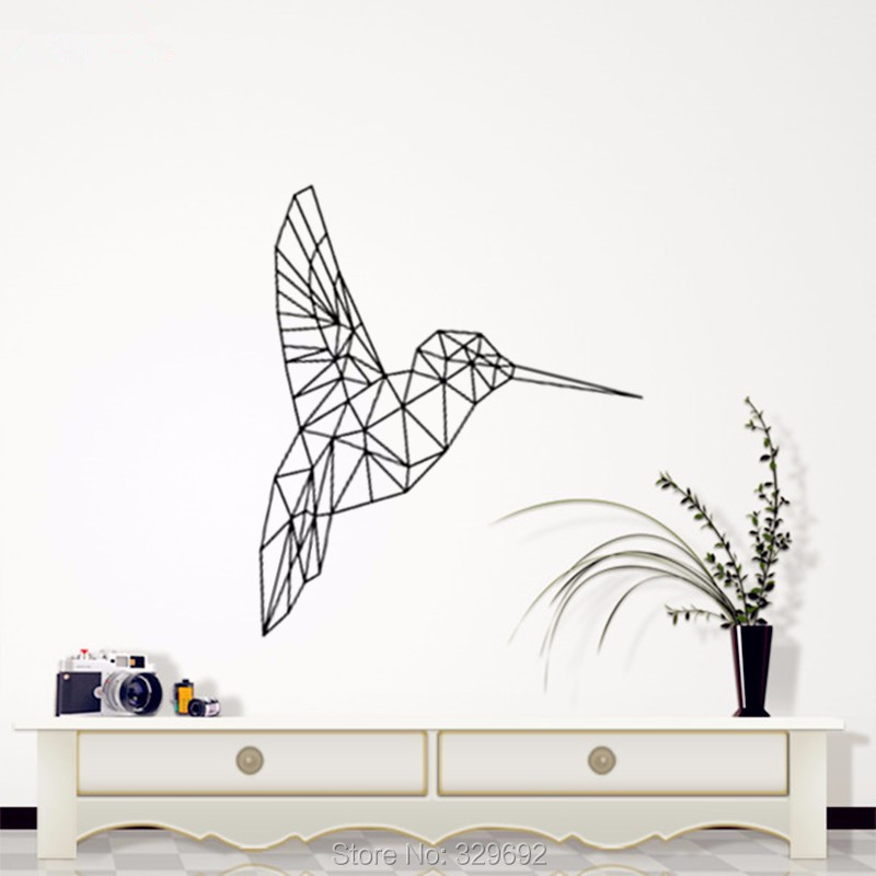 Birds Geometric Decorative Wall Art , Geometric Animals - Kingfisher Decals 3D Visual Effects Vinyl Wall Art Custom Home Decor(China (Mainland))