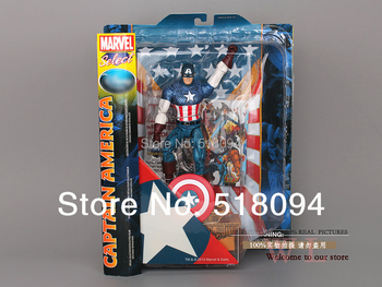 """Free shipping MARVEL Select Superhero The Avengers Captain America PVC Action Figures Collection Toy Gift 10""""25cm HRFG022"""