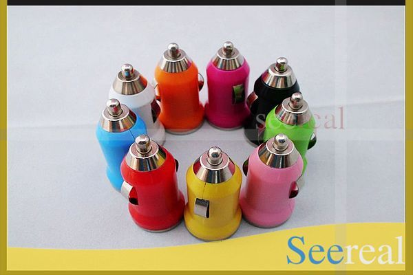 35Pcs/Lot  Mini Usb Car Charger Adapter For iPhone4 4s 5 iPad 1 2 Mobile Phone Mp3 Mp4 Colour Car Adapter DHL Freeshipping