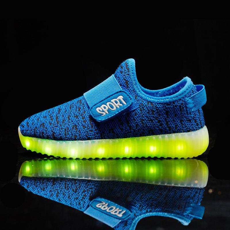 Kids Light Up font b Shoes b font 2016 USB Charging Children Yeezy font b Shoe