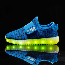 Kids Light Up font b Shoes b font 2016 USB Charging Children Yeezy font b Shoe