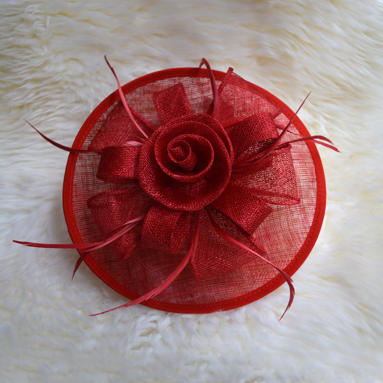 NEW Sinamay Ladies Church Feather Pillbox Hat Wedding Bridal Fascinator red black ivory(China (Mainland))