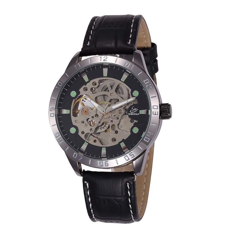 New Brand Men Luminous Analog Mechanical Watches Fashion Business Dress Automatic Self-wind Wristwatch Real Leather Clock NW606<br><br>Aliexpress