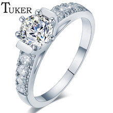 TUKER  Hot Ring Fashion Women Engagement Austrian Crystal Rose Gold color Plated Full Size Zircon Ring Wedding Bride Jewelry(China (Mainland))