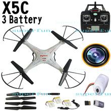 3 Batteries Upgrade Black Syma X5C 2.4Ghz 6-Axis Gyro RC Quadcopter Drone W/ 2MP HD Camera RTF