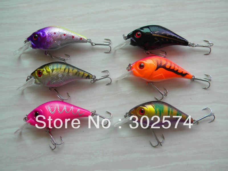 60pcs lot crankbait fishing lures 7 5cm 10 2g 6 hooks for Cheap fishing lures bulk