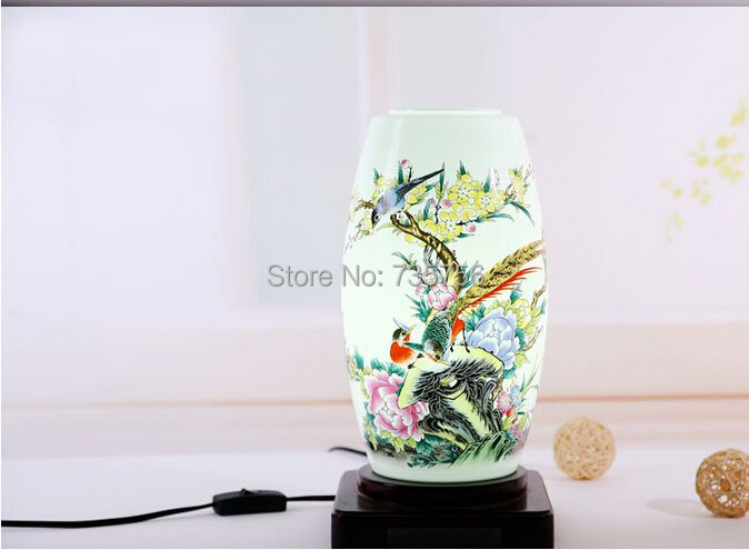 handmade oriental table porcelain lamp decorative ceramc light China traddtional(China (Mainland))