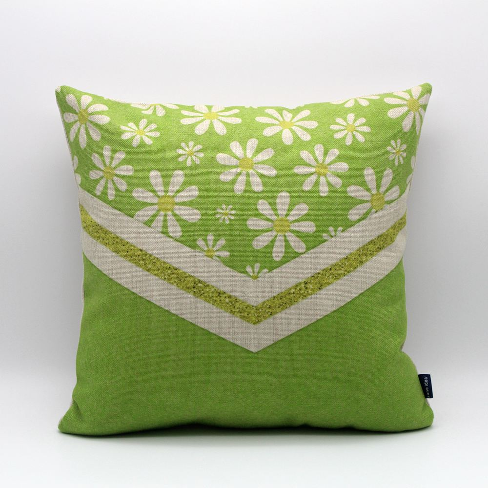 LINKWELL 45x45cm Green Flower White Burlap Cushion Cover Printing Decorative Throw Pillows Cover for Couch Sofa