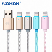 2PCS/Lot NOHON 150cm LED SMART Aluminum alloy USB cable For iphone 5 6Plus 6S ipad 4 mini Air data charger cable IOS 6 7 8 9(China (Mainland))