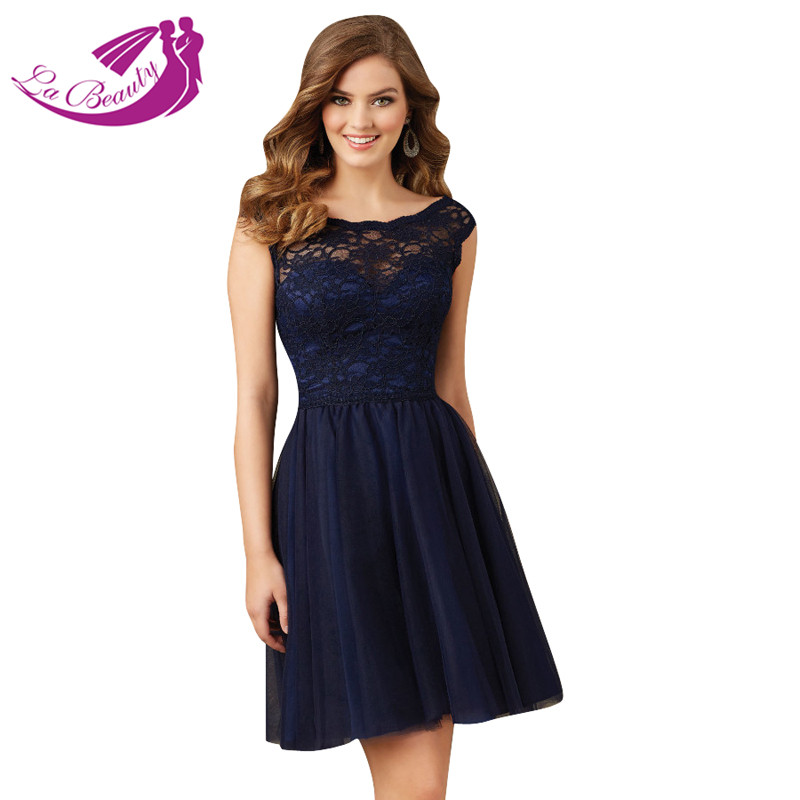 Navy blue short cocktail dress bateau open back tulle lace for Navy evening dresses for weddings