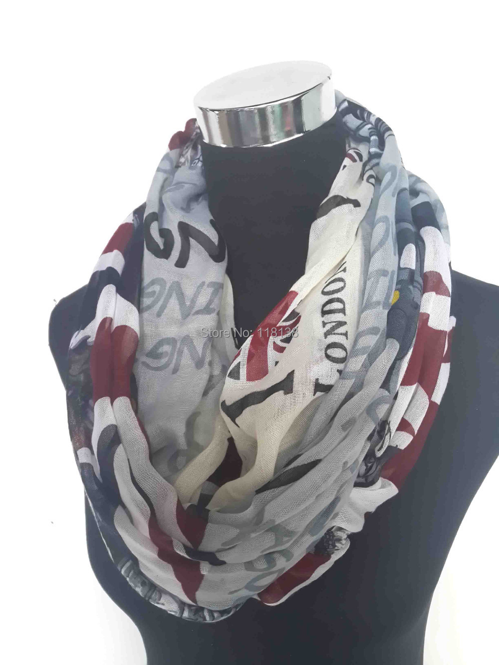 I Love London Souvenir Union Jack Cambridge Scene Print Infinity Scarf Accessories Voile Scarves, Free Shipping(China (Mainland))