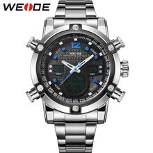 WEIDE Famous Brand Quartz-Watch Men Sports Waterproof Dual Time Complete Calendar Stainless Steel Strap Clock relojes / WH5205