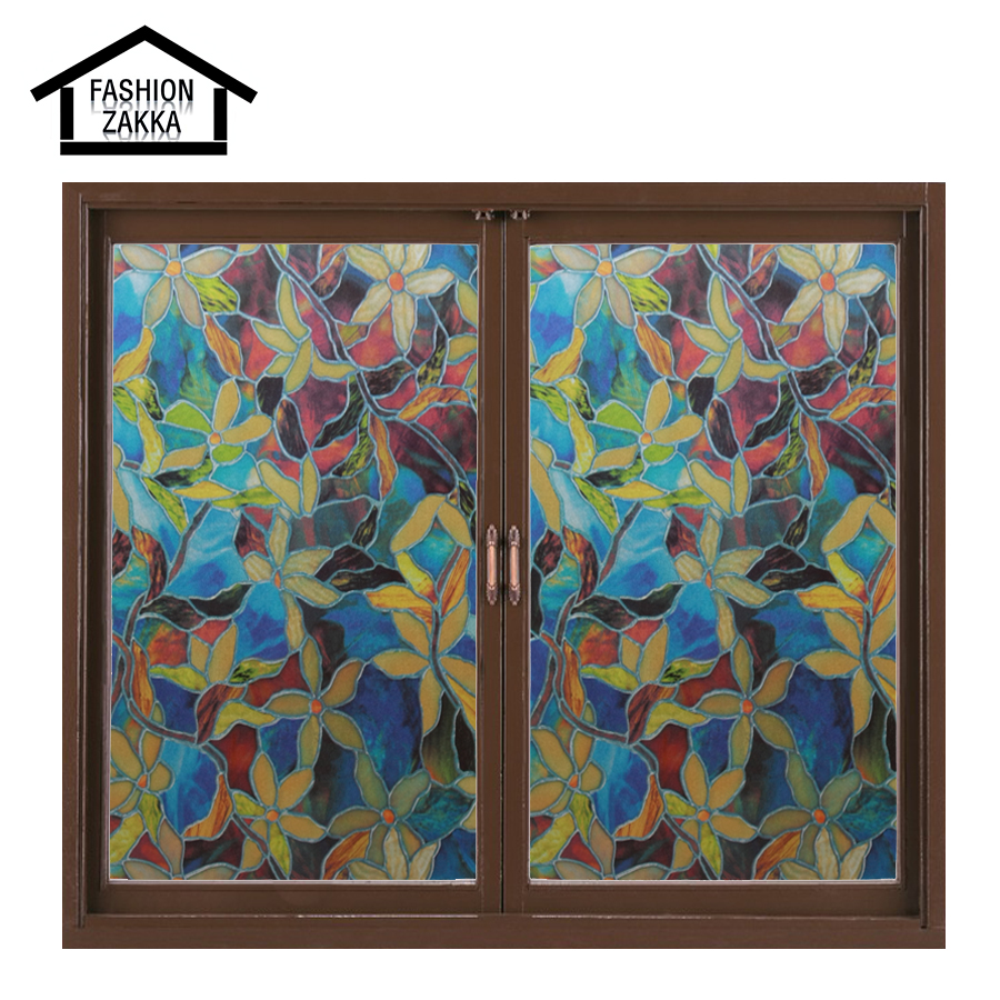 Colorful flowers european church style stained glass for Decorative stained glass windows