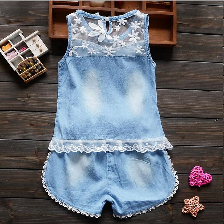 2016 summer children's clothing infant baby girls clothing sets casual two sets summer flower girl dress lace sleeve jeans suit(China (Mainland))