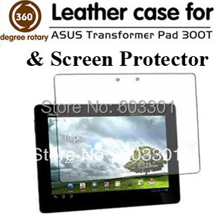 For Asus Transformer Pad TF300 rotary stand case and screen protector, TF300 rotating cover case and screen guard