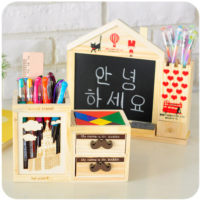 Multifunction Wood Pencil Holder For Pens Office School Stationery Wooden Desk Organizer With Drawer/Messege Board<br><br>Aliexpress