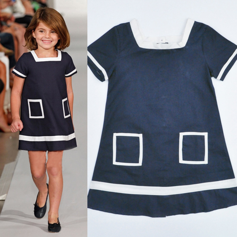 2016 Summer children's clothing Europe and the United States Navy Blue pocket dress girl Navy Wind dress for 2-8 years old #50(China (Mainland))