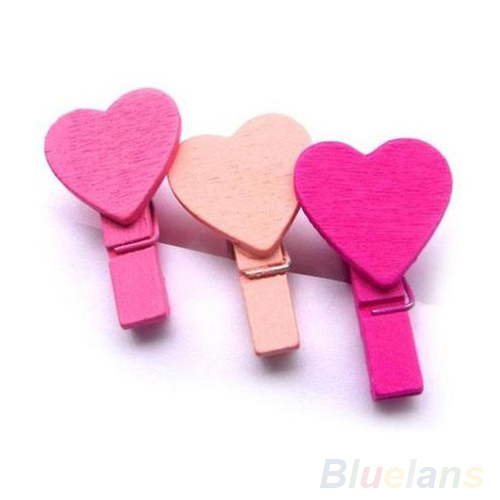 12Pc BAG Mini Heart Love Wooden Clothes Photo Paper Peg Pin Clothespin Craft Clips 01TG 4CCA