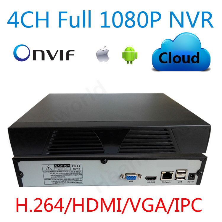 4 channel NVR Onvif 1080P HDMI High Definition HD 4CH Network Video Recorder CMS mobile phone view CCTV NVR For IP Camera system(China (Mainland))