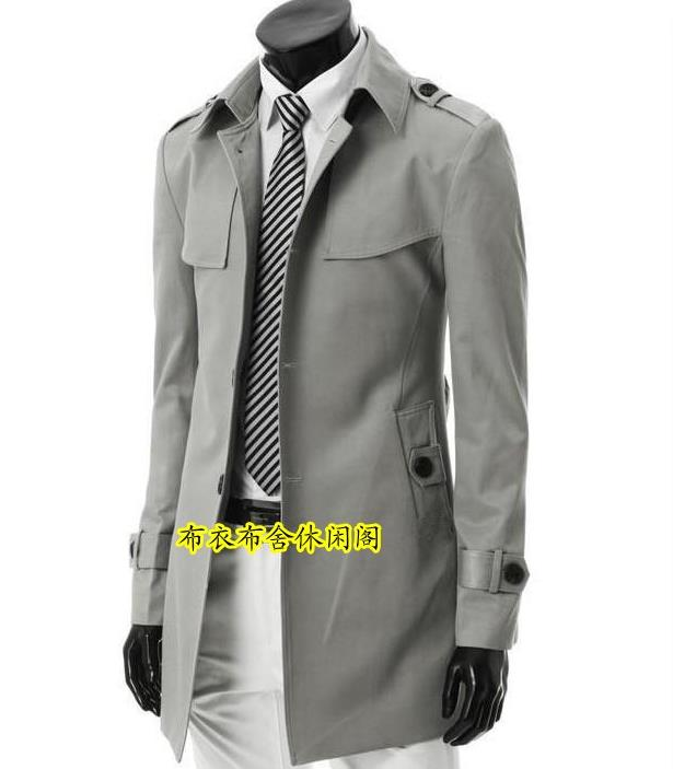Black grey spring autumn single-breasted trench coat men slim fit mens coats overcoat fashion england made in china S - 3XLОдежда и ак�е��уары<br><br><br>Aliexpress