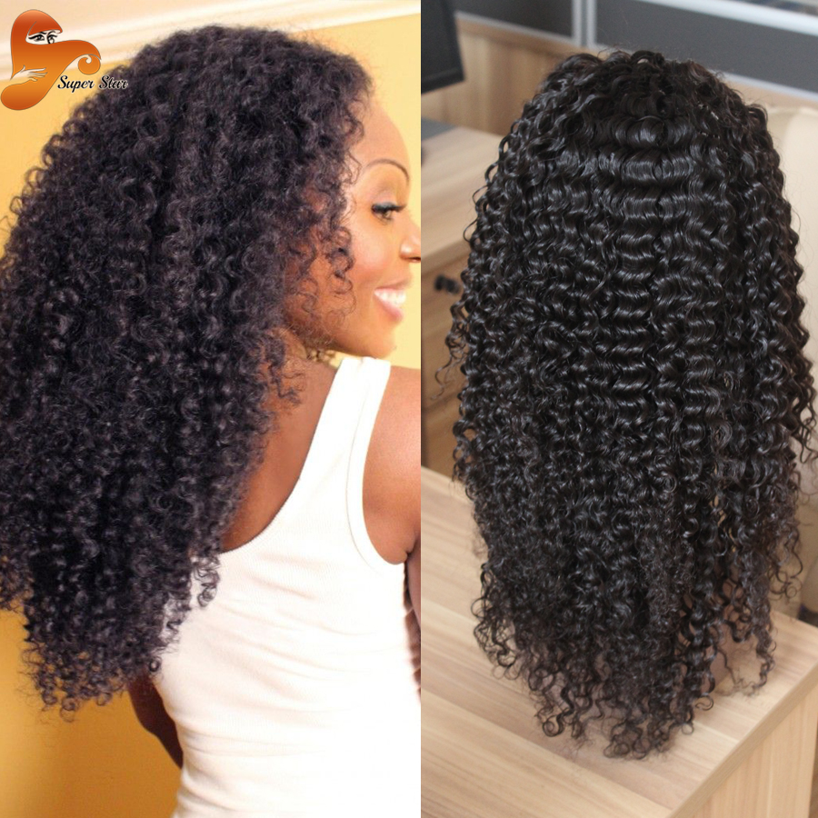 Mongolian Afro Kinky Curly Full Lace Wigs 100 Virgin Hair