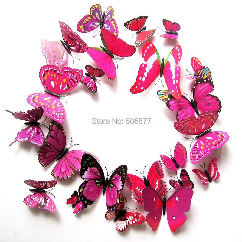 12pcs/set Purple-pink 3D Artficial Butterfly Wedding Decoration /Fridge Magnet / Refrigerator HD-002 - Love Sunshine store
