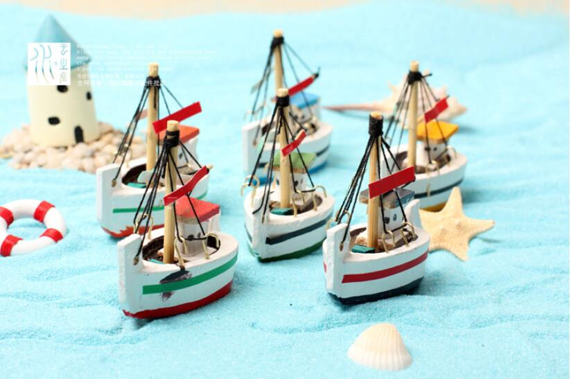 Tiny Mediterranean style Fishing Boat Small Sailboat handmade wooden arts and crafts Decorate the landscape(China (Mainland))