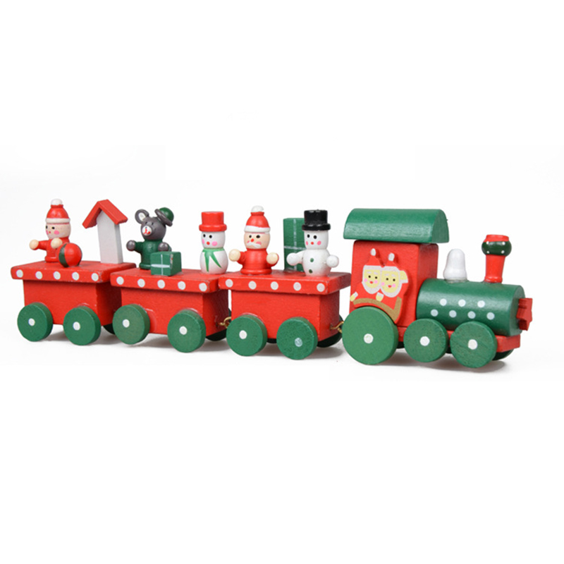 1 Set Kids Baby Lovely Painted Wooden 4 Piece Little Train Models Blocks Children Christmas Ornament Decoration Toys Good Gifts(China (Mainland))