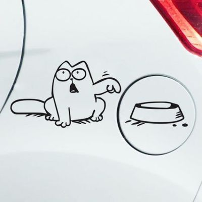 "16x10cm Simon's Cat Decal Hungry ""Feed Me!"" Funny tank car stickers(China (Mainland))"