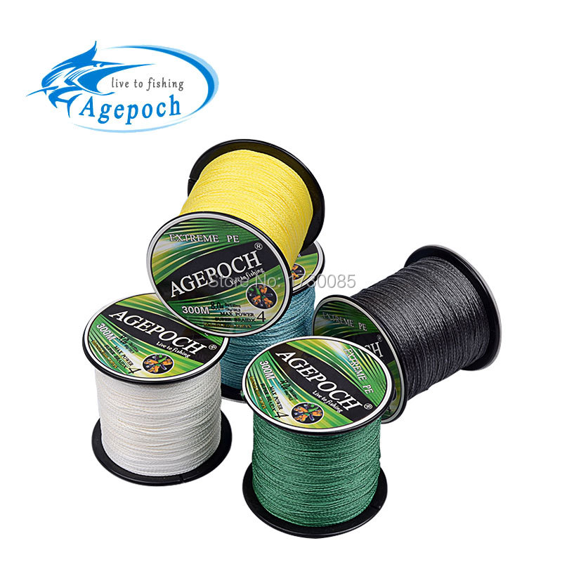 Agepoch 300m Braided Multifilament Super Power Pe Fishing Line Rope The Peche Spearfishing Cord Wire Peche Carp Winter Thread 4(China (Mainland))