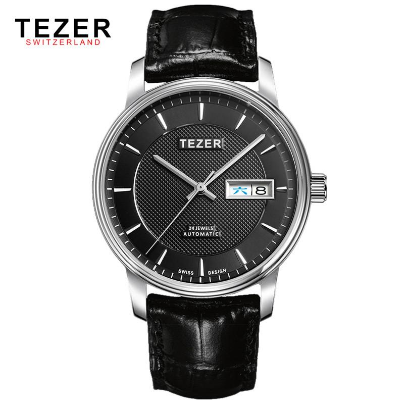 Модные Мужские Часы Люксовый Бренд TEZER Высокого Качества Кожа Бизнес Кварцевые Часы Мужчины Водонепроницаемый Наручные Часы Relogios Masculino