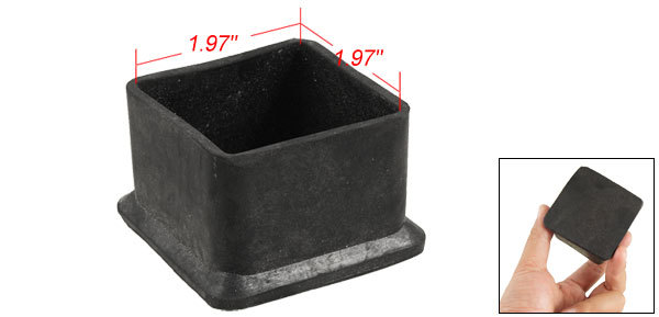 50 50mm Square Black Rubber Table Chair Leg Foot Covers Protector Holder In C