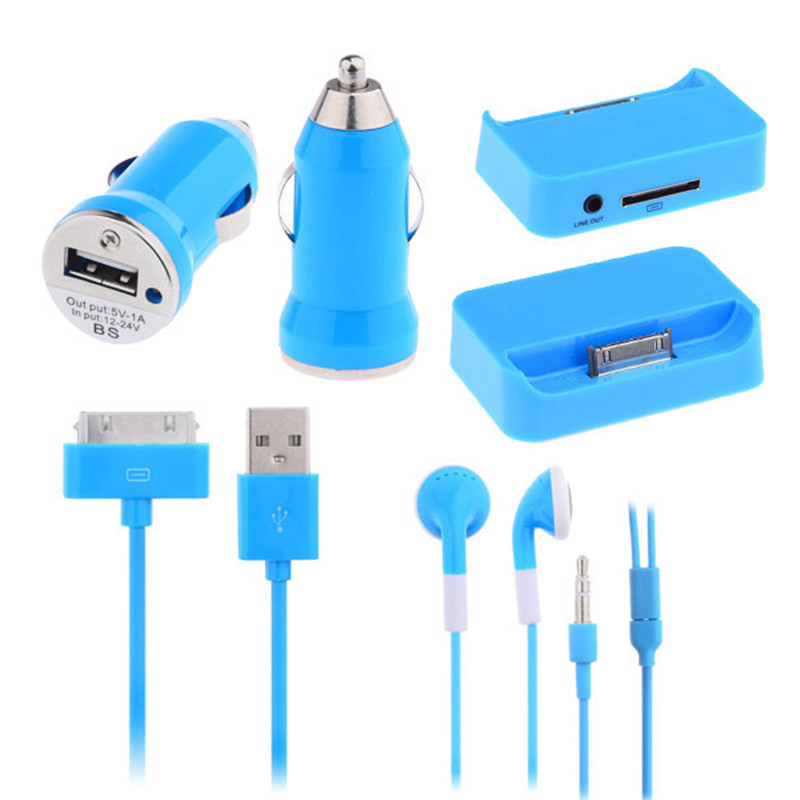 4 in 1 Travel Kit Charger Accessories for iPhone iPad iPod - 6 Kinds of Colors(China (Mainland))