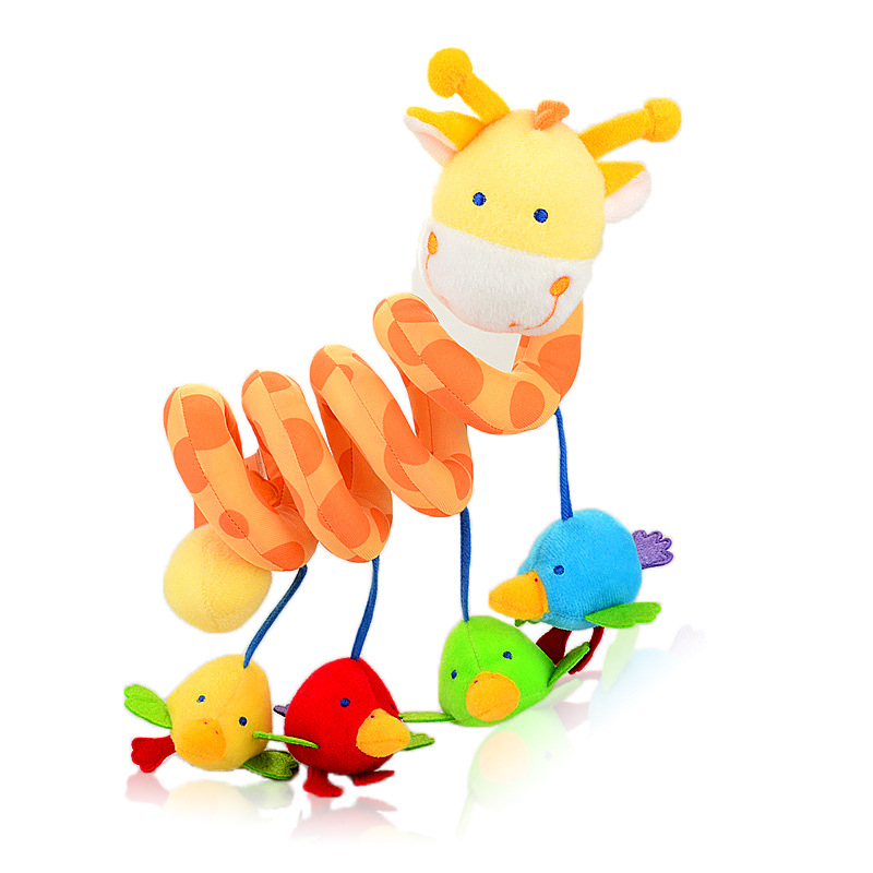 Super cute 1pc plush pacify bird doll little beer bed car around bell rattles mirror baby cognitive infant newborn gift toy(China (Mainland))