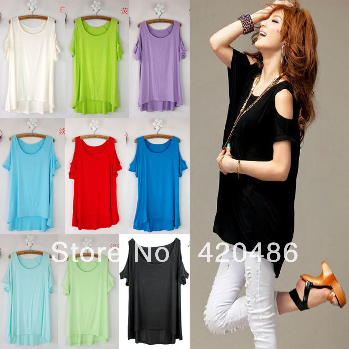 New Fashion Womens Sexy Open Shoulder Candy Colour Tee Shirt Top Free Shipping(China (Mainland))