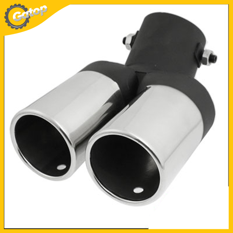 "Car Bolt Round Rolled Twin Dual Exhaust Muffler Tip Tips Auto Pipe Silver Tone 56mm 2.2 inch"" Styling 1Pcs"""