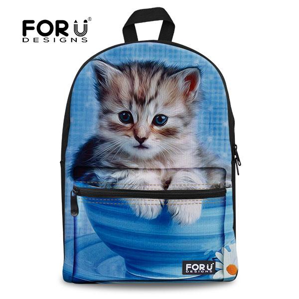 Casual Women Canvas Backpacks 3D Animals School Bags for Teenagers Girls Cute Pet Cat Backpack Female Travel Bagpack Rucksack(China (Mainland))