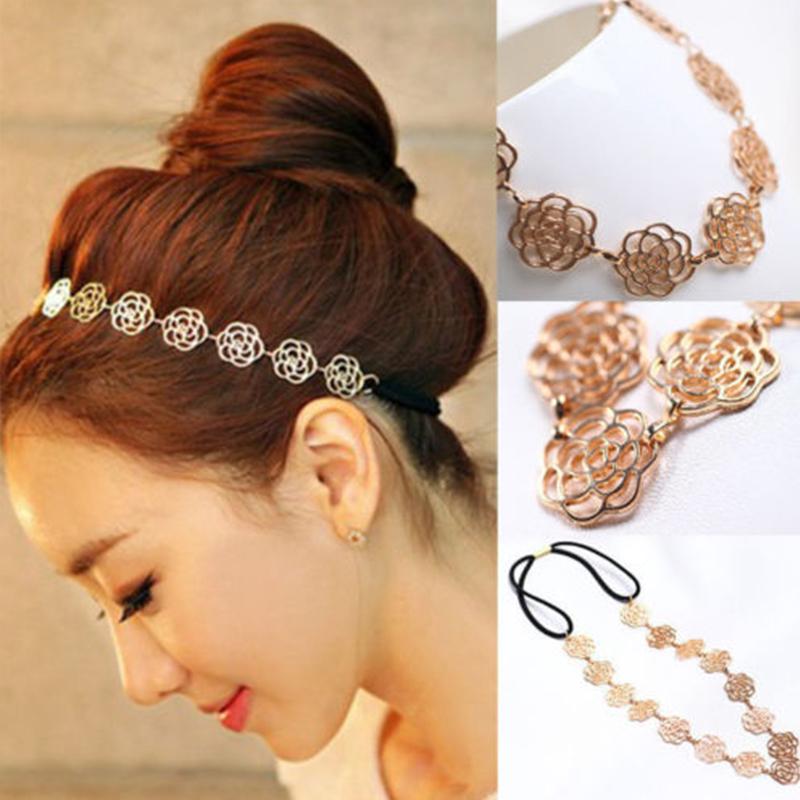 Korean Fashion Hair Accessories Metallic Hollow Rose Flowers Elastic Headband Headwear hair bands acessorios para cabelo(China (Mainland))