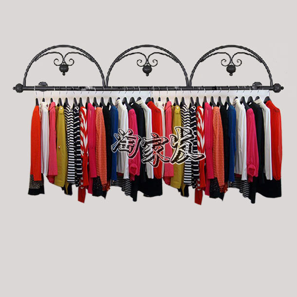 Iron upscale clothing store on the hanger wall rack side wall display shelf display rack for hanging clothes<br><br>Aliexpress