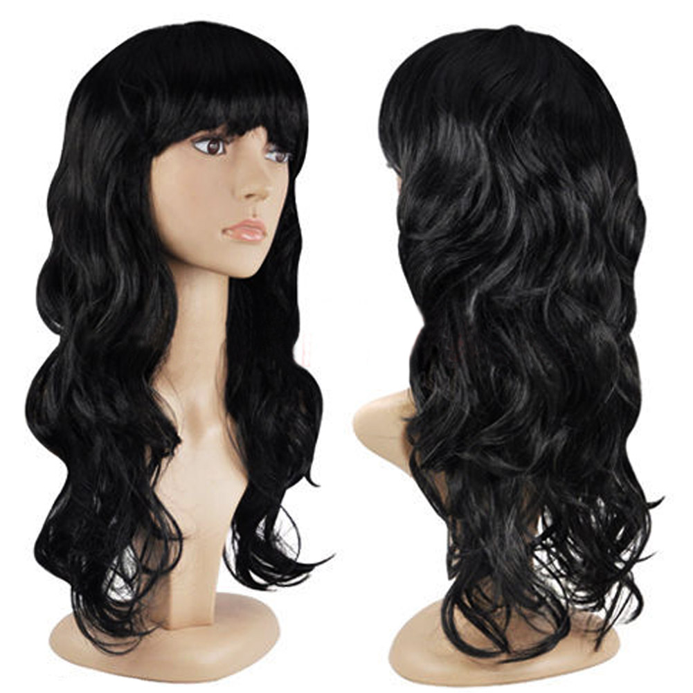 Black Fashion Women's Fashion Wig Wave Hair Wigs With Bangs Black Long Hair Wig HB88(China (Mainland))