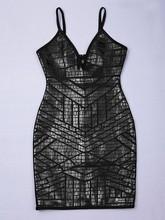 Celebrity Black Leather Print Knee Length Deep V-Neck Bandage Dress Cocktail Party Bodycon Dress
