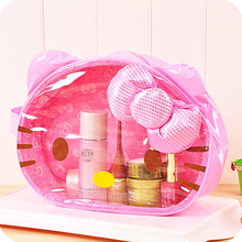 Kawaii Women's Kitty Cat Transparent Pink PVC Cosmetic Bag.Makeup bags.Handbag.Portable Toiletry Pencil Clutch Wash Bag.Pouch(China (Mainland))