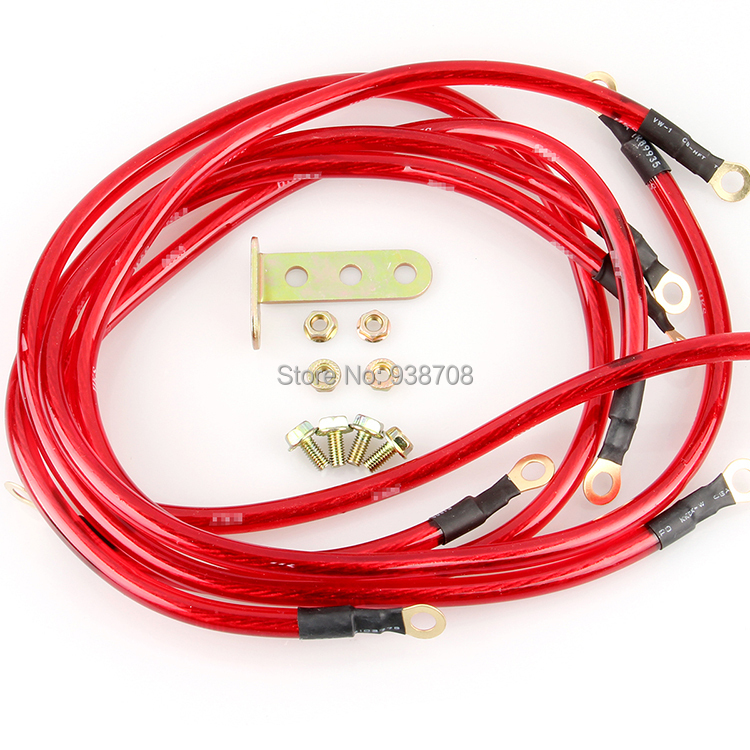 Free Shipping Universal 5 Points Earth System Grounding  Ground Wire Cable Kit Auto High Performance Red(China (Mainland))