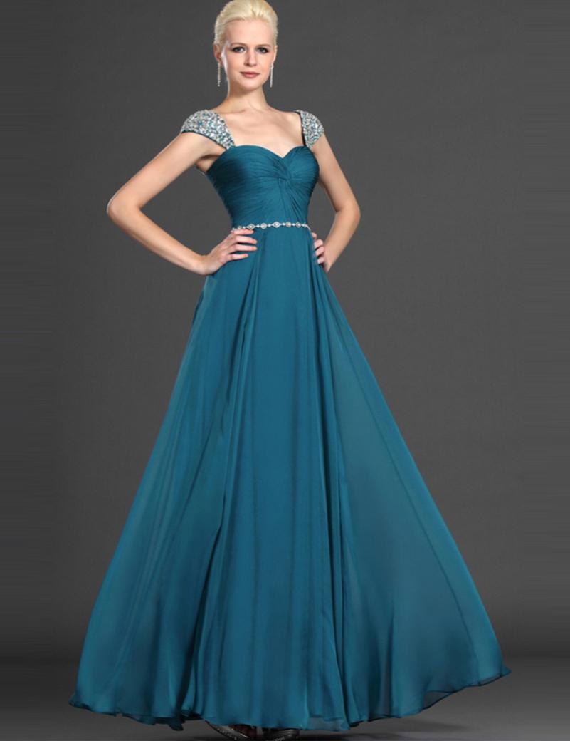 free shipping straps chiffon evening dress