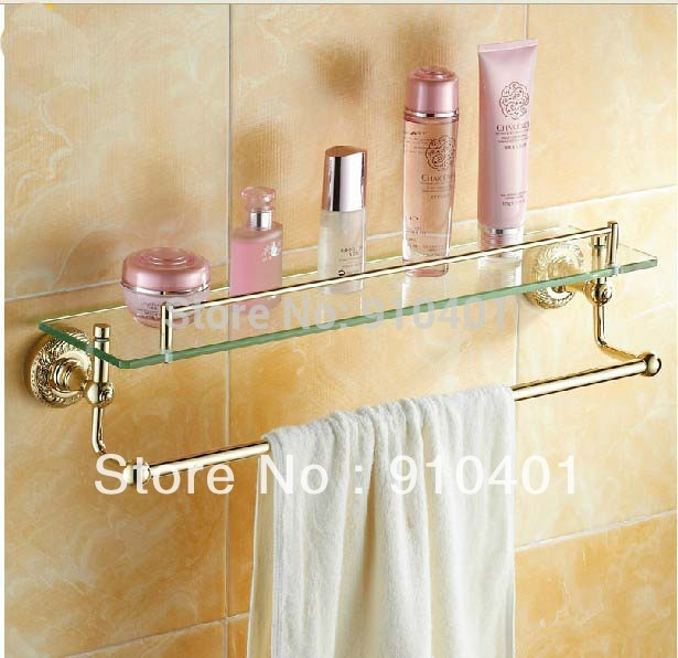 Hot Sale Wholesale / Retail Promotion NEW Gold Finish Wall Mounted Brass Bathroom Shelf Cosmetic Rack Dual Tiers Shelf(China (Mainland))