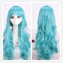 @@Fashion 65cm Long Body Wave Blue Cosplay Party Full Hair Synthetic Wig